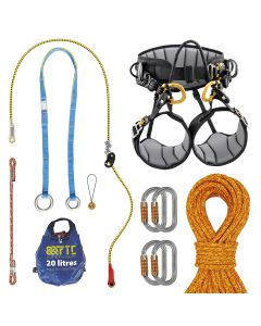 Kit de grimper Hévéa avec baudrier d'élagage SEQUOIA Petzl, Longe de maintien ZILLON Petzl, Corde de rappel ACID FTC, Fausse fourche JOKEr LIGHT FTC, mousqueton OK TRIACT LOCK Petzl et Prusik VOLCANO anti fusion FTC.