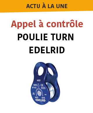 Appel à contrôle de sécurité sur poulie Turn Edelrid