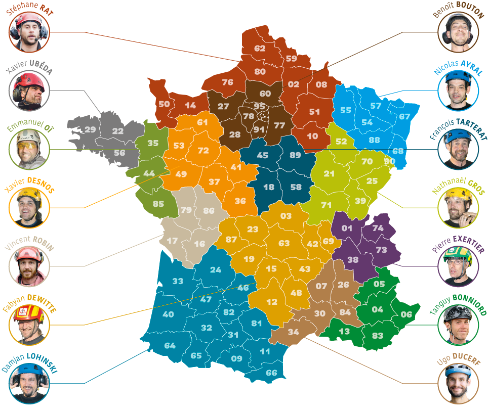 Carte des experts Hévéa par département
